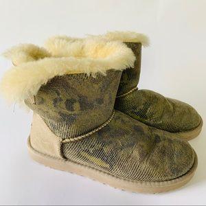 UGG Mini Bailey Bow Snake Shearling Fur Boot 7